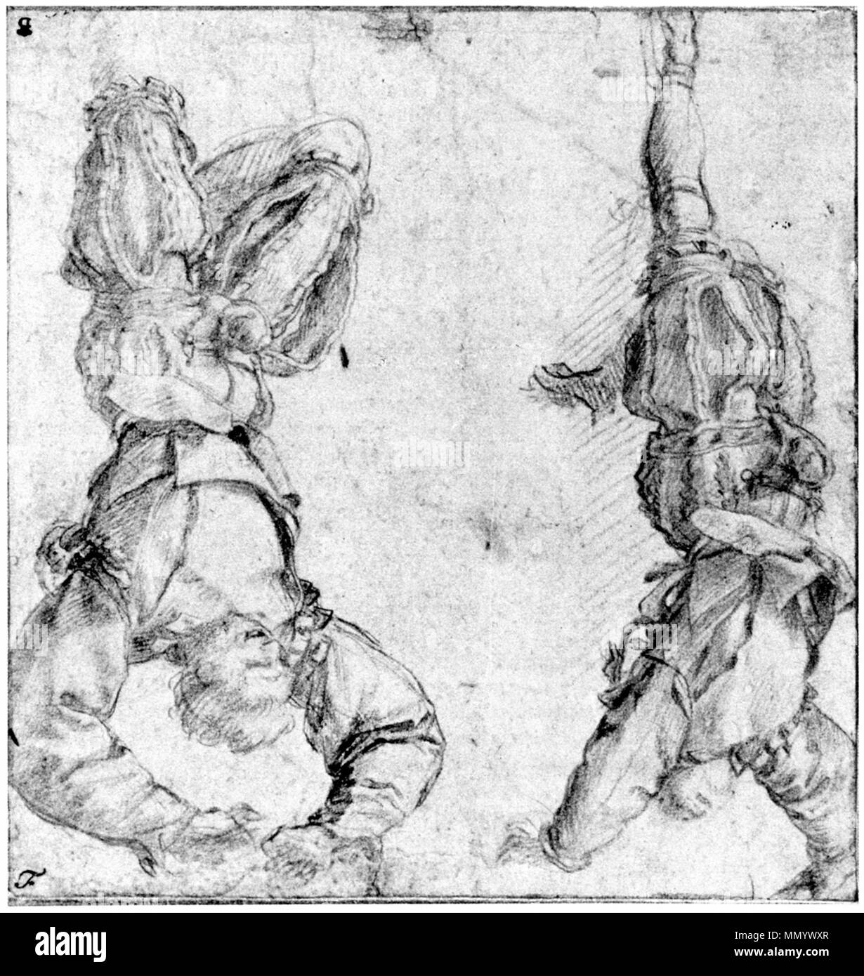 English: Drawing, in red chalk on white paper, of two men each