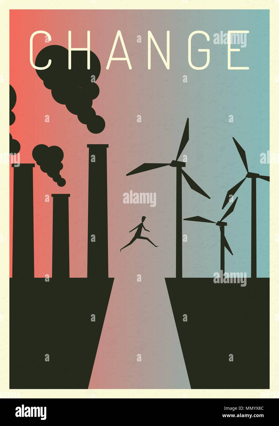 Vector Illustration Polluting Electricity Generation Production Powering A Generating Fossil Thermal Coal And Nuclear Power Plants Versus Clean Wind Turbines