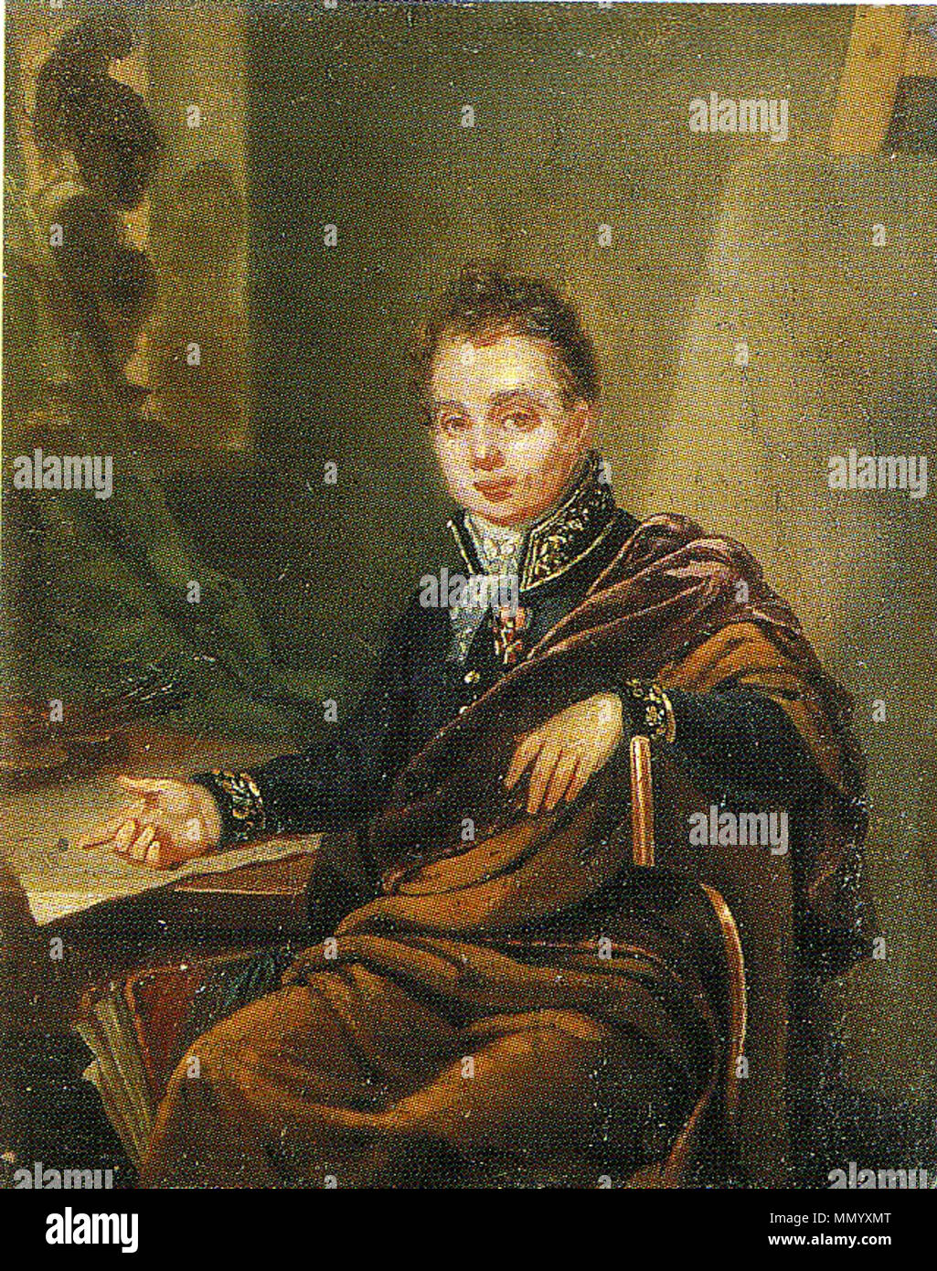 . Портрет А.И. Иванова, профессора АХ. 1824 ГРМ  . 1824.   Ivan Bugaevskiy-Blagodarniy (1773–1859)   Alternative names English: The information about the life of the painter is fragmentary and discrepant. In particular, there are variants of the spelling of his family name: Bugaevskiy or Bogaevskiy, Blagodarniy or Blagodatniy (Russian: ?????????? or ??????????, ??????????? or ???????????). As well, there are variants of the painter's patronymic: Vasilievich or Semyonovich (Russian: ?????????? or ?????????). ???????: ??????????? ?????? ???????? ????????? ??????? ?????????: «??????????» ??? « Stock Photo