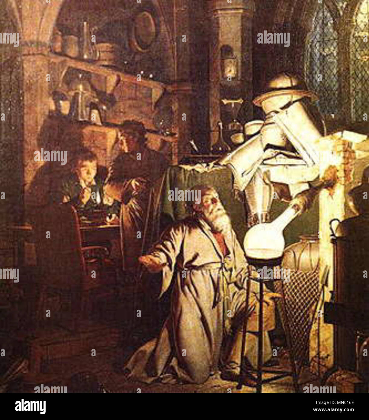 the painting illustrates the discovery of phosphorus by Hennig Brand in 1669.  The Alchemist in Search of the Philosopher's Stone. 1771.