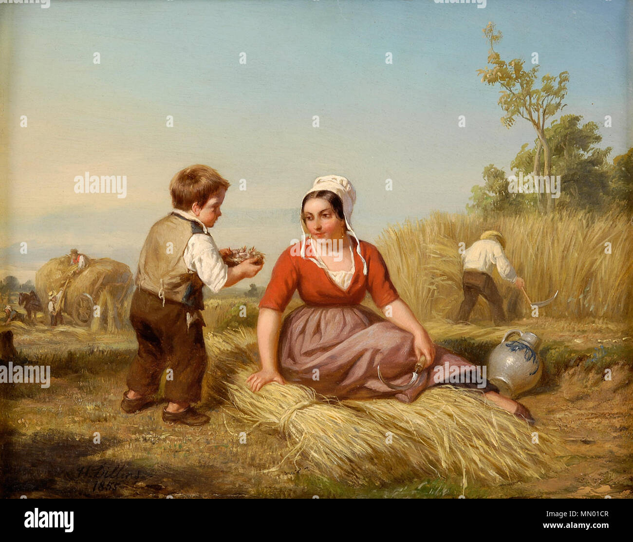 .  Deutsch: Das Vogelnest. Signiert. Datiert 1855. Öl auf Holz, 24,5 x 31 cm  . 1855. Henri Joseph Dillens Das Vogelnest - Stock Image