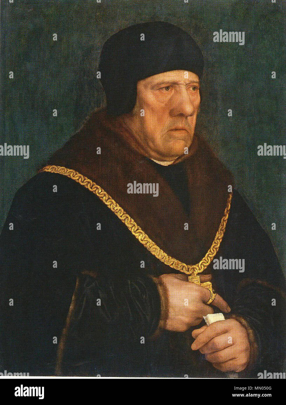 .  English: Sir Henry Wyatt (c. 1460/70–1537), was a Privy Councillor and Treasurer of the Chamber of Henry VIII and the father of the poet Sir Thomas Wyatt. Thomas Wyatt described his father's qualities as: 'wisdome, gentlenes, sobrenes, desire to do good, frendliness to get the love of manye, and trougth above all the rest'.[1] This portrait, once thought to have been painted during Holbein's first visit to England from 1526 to 1528, is now believed to have been painted towards the end of Sir Henry's life, at the same time as Holbein drew the portrait of his son. The sitter appears to have l - Stock Image