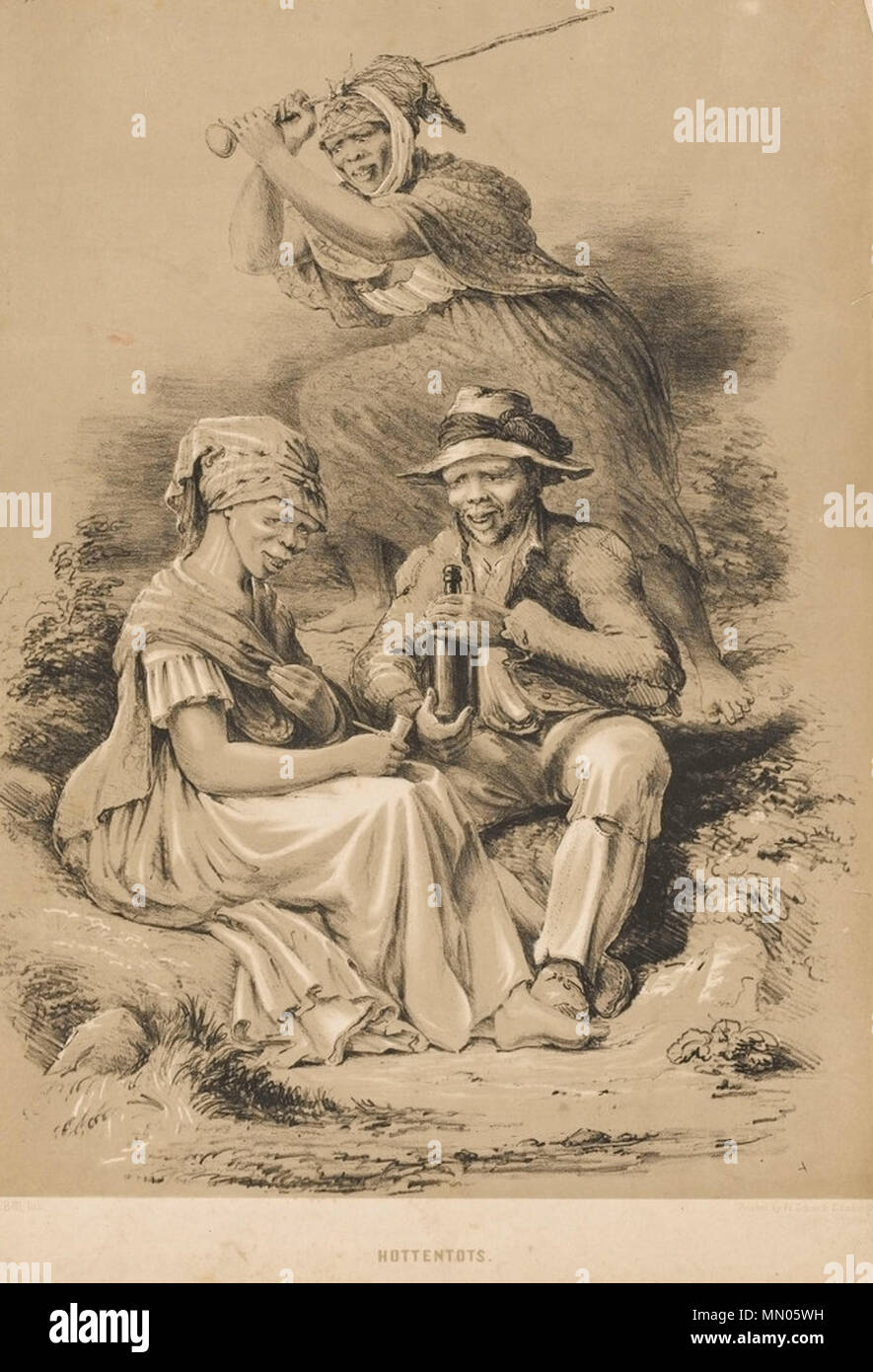 . English: Image depicting a group of 'Hottentots' or Khoikhoi by Charles Davidson Bell. It illustrated Bell's fears regarding the potential dangers of unguided western imperialism. The man is drinking, the woman has cigarettes, while the woman behind brandishes a blunt instrument. All are dressed in Western clothes. Charles Davidson Bell sketched a number of ethnographic studies of the different non-European South Africans he found while living there, some not long after he arrived in 1830, others while on an expedition into the Interior with Dr Andrew Smith in 1834 and more still on his retu - Stock Image