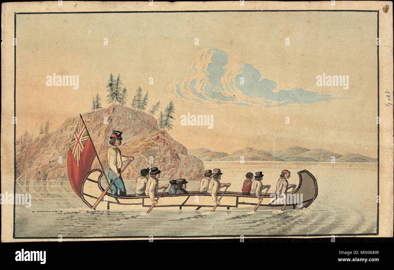 . English: Hudson's Bay Company officials in an express canoe crossing a lake.  . 1825. Rindisbacher, Peter, 1806-1834. Hudson's Bay Company express canoe - Stock Image