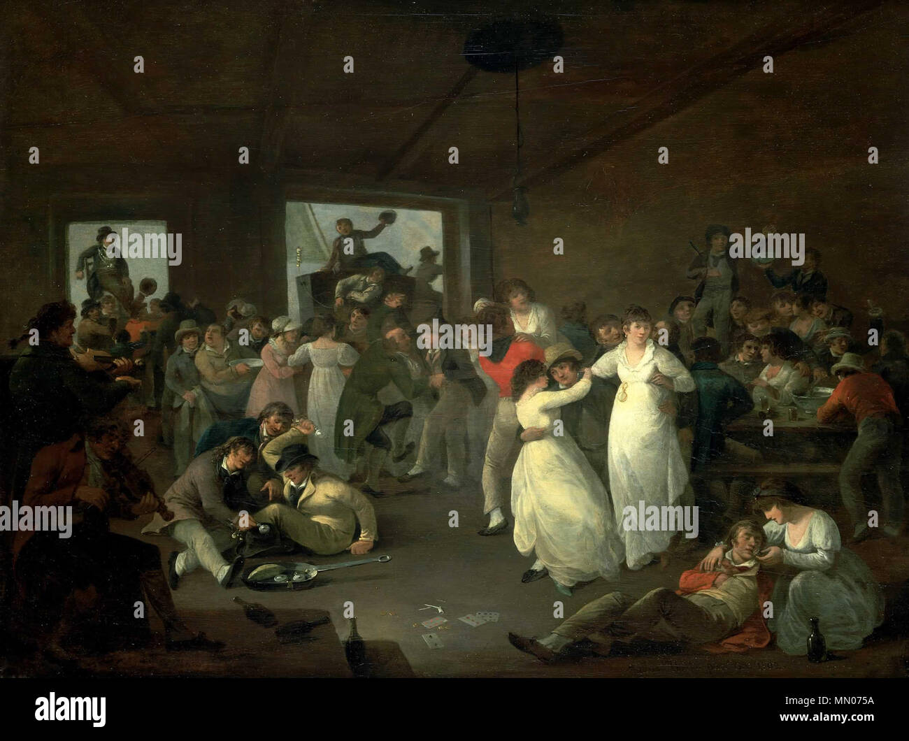 941b56f927 . English: A scene in an unspecified tavern at Portsmouth after one or more  ships have been paid off. The painting may be a retrospective celebration  of the ...