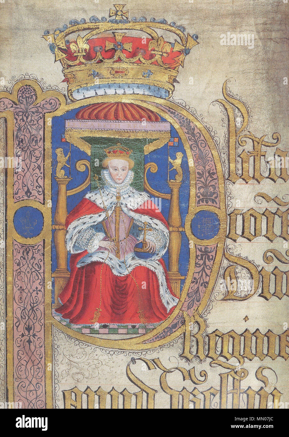 English: Illuminated initial membrane, with portrait of