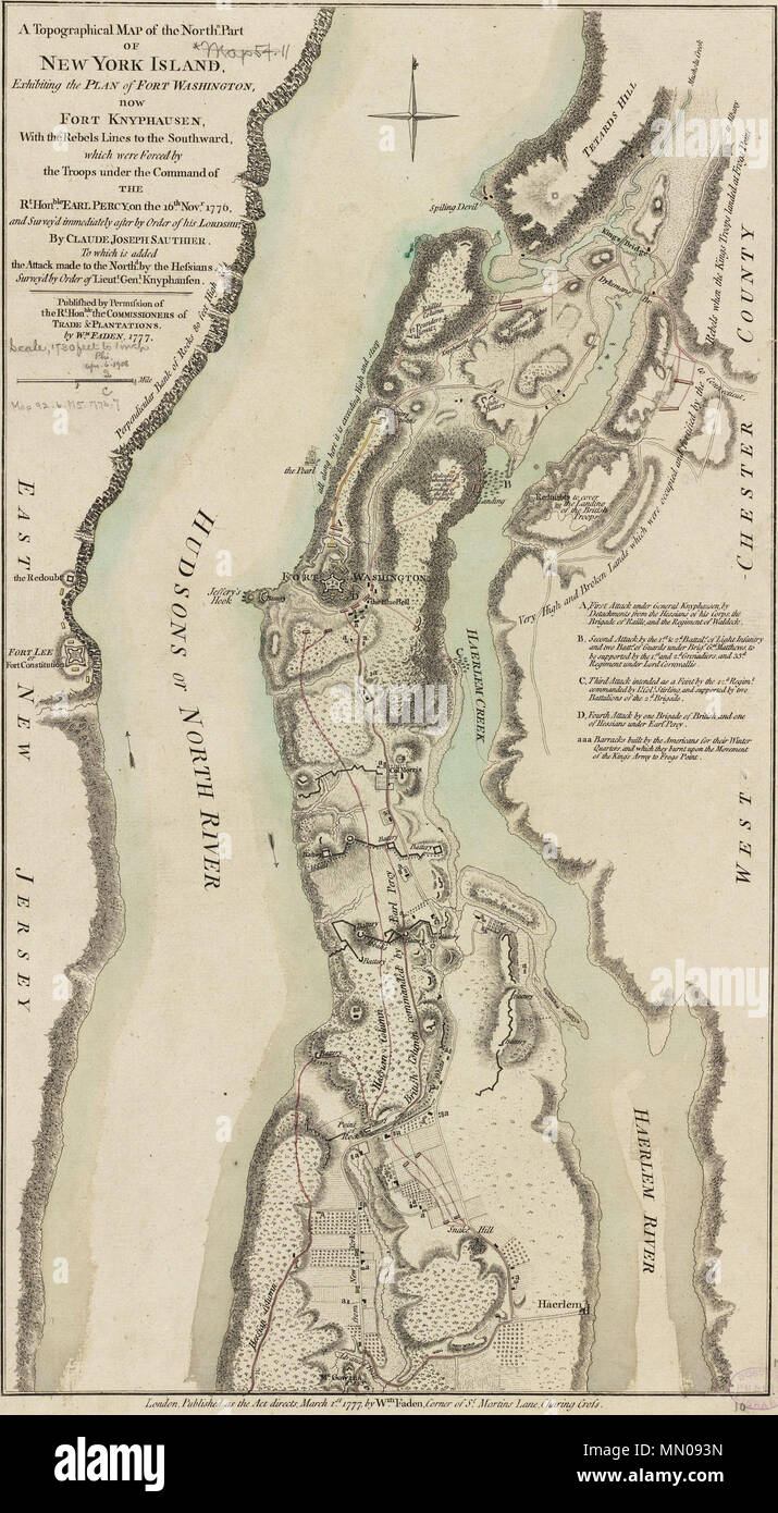 Map Of New York Revolutionary War.English This Map Depicts The Northern End Of Manhattan And The