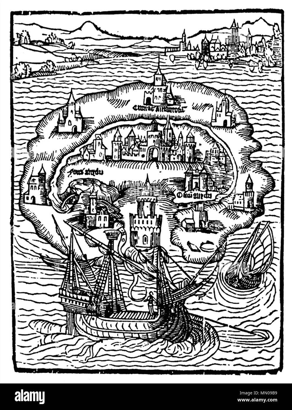 . Deutsch: Titelholzschnitt aus Thomas Morus' Roman Utopia Insel Utopia - Stock Image