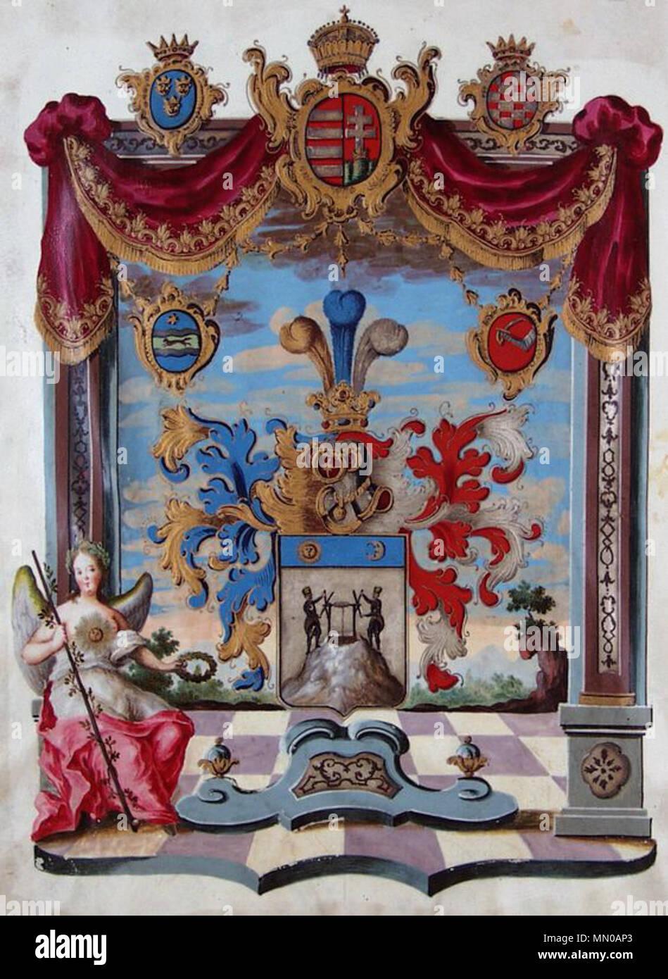. Deutsch: Wappen aus dem Adelsdiplom von Leopold II. (römisch-deutscher Kaiser 1790-1792) als König von Ungarn für Georg Hoffmann, ausgestellt am 2. Juni 1791, mit eigenhändiger Unterschrift des Kaisers.  . 1791. Anonymous Adelsdiplom - Hoffmann 1791 - Wappen Stock Photo