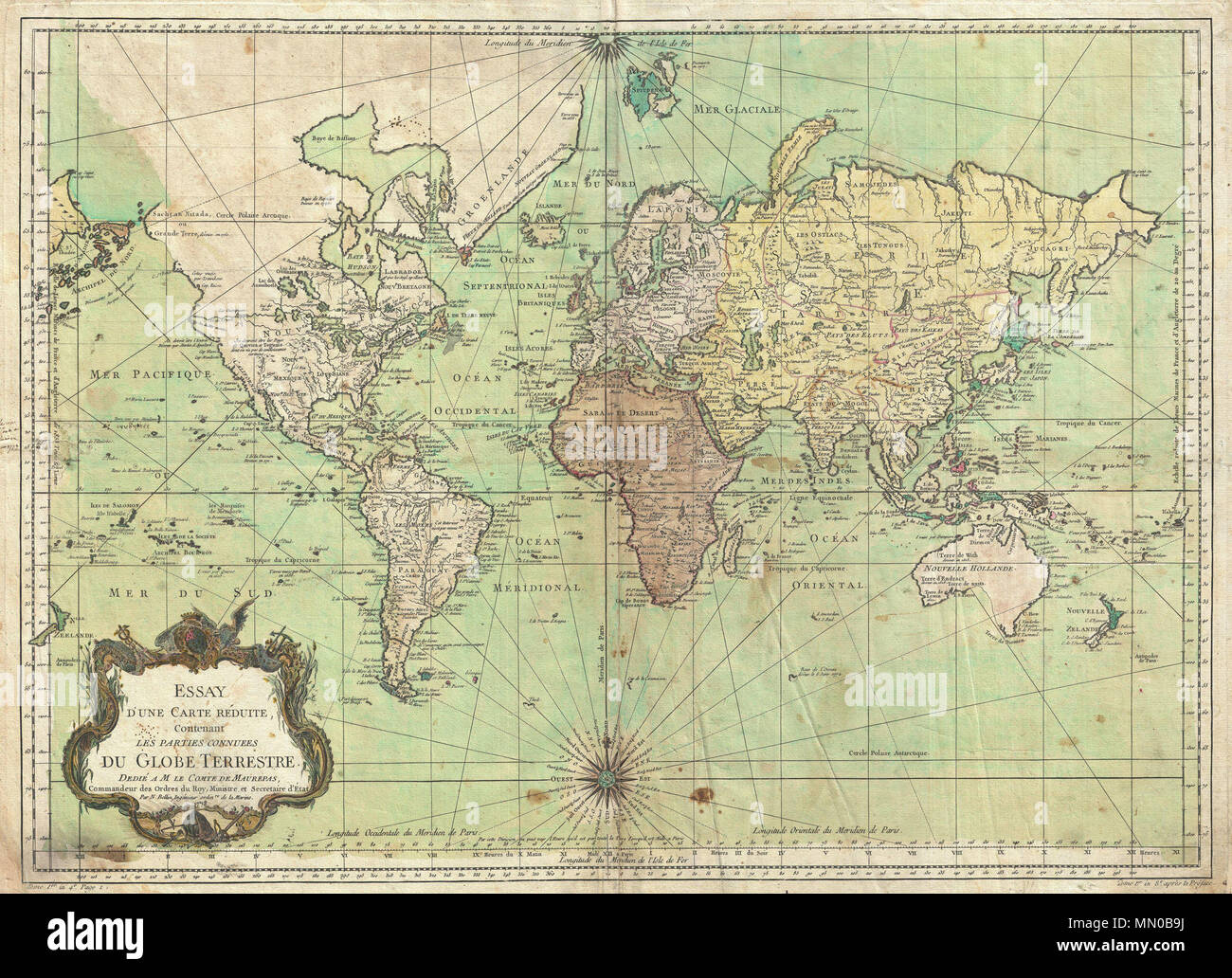 f0faf02d0 . English  An attractive first edition first state example of J. N.  Bellin s 1778 nautical chart of the world. Presents the entire world on a  Mercator ...
