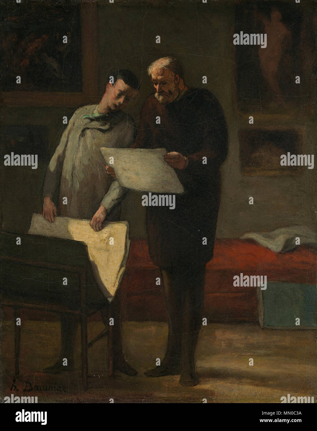 Advice to a Young Artist Painting; oil on canvas; overall: 41.3 x 33 cm (16 1/4 x 13 in.) framed: 65.7 x 57.5 cm (25 7/8 x 22 5/8 in.); Advice to a Young Artist by Honoré Daumier c1865-68 - Stock Image