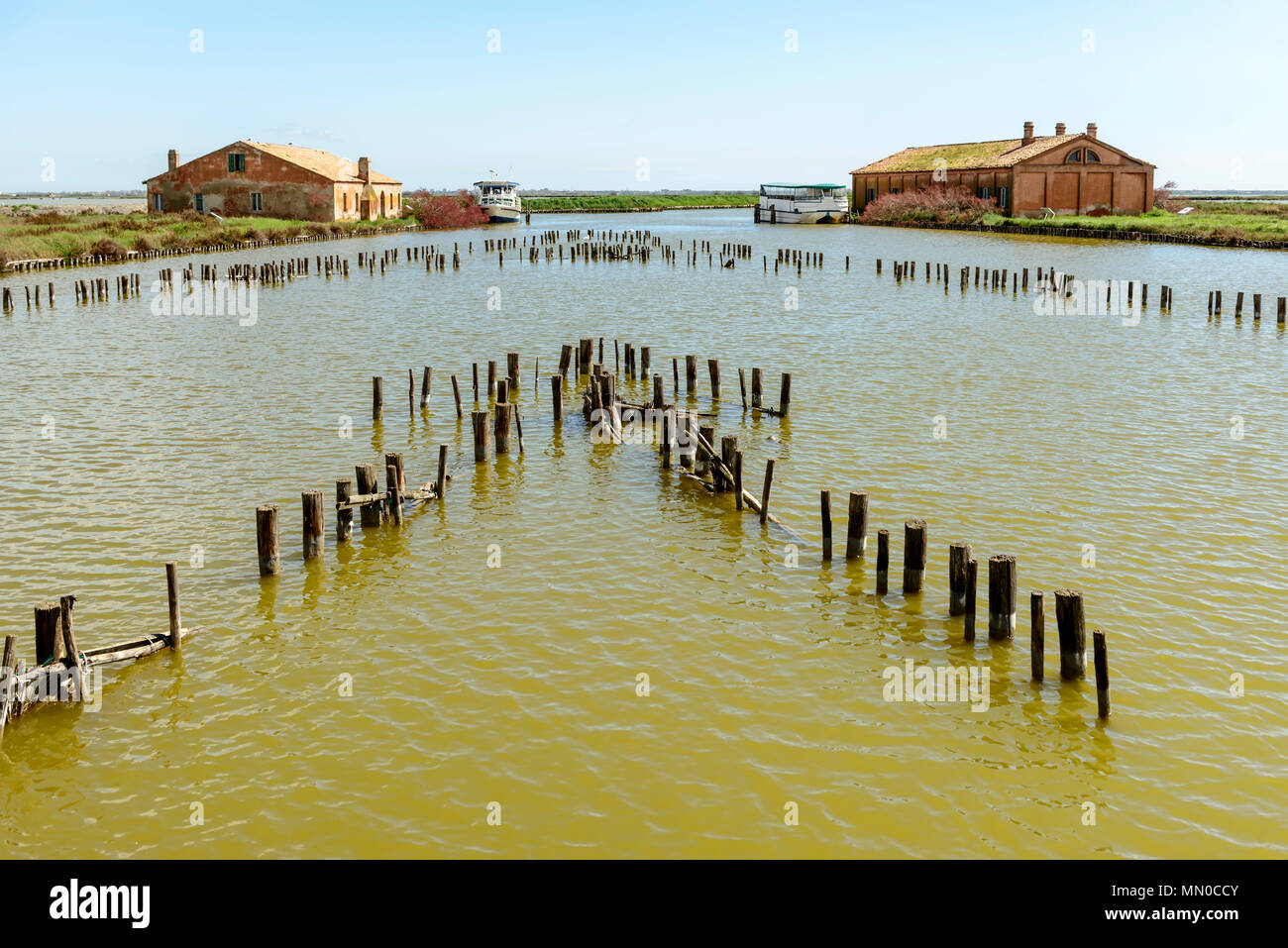 touristic passenger vessels moored near  historical fishing station buildings in the lagoon, shot in bright spring light at Comacchio, Ferrara,  Italy - Stock Image