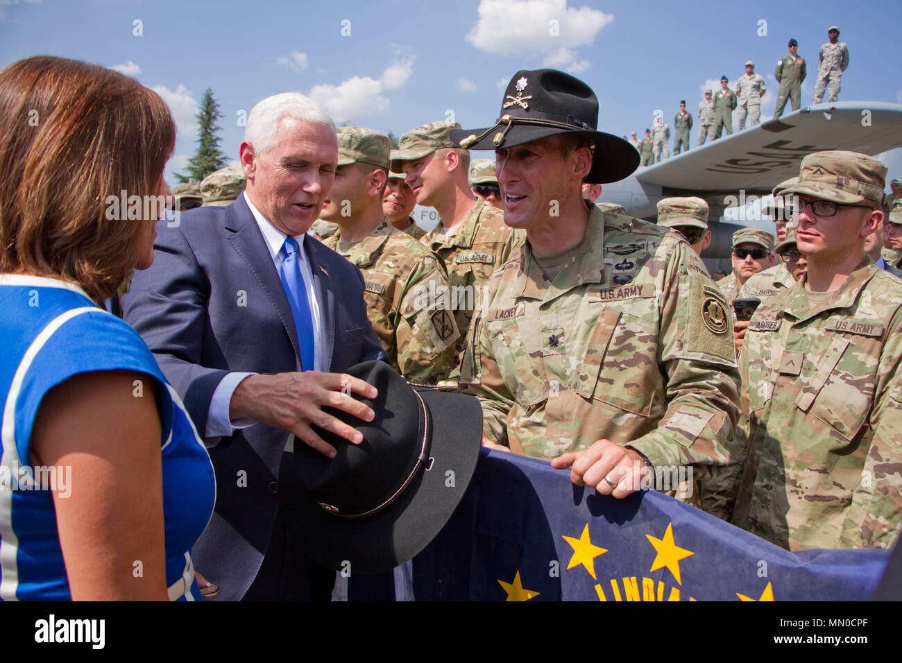 U.S. Vice President Mike Pence received a Cavalry Stetson from Lt. Col.  Adam Lackey 92ae7744e1d