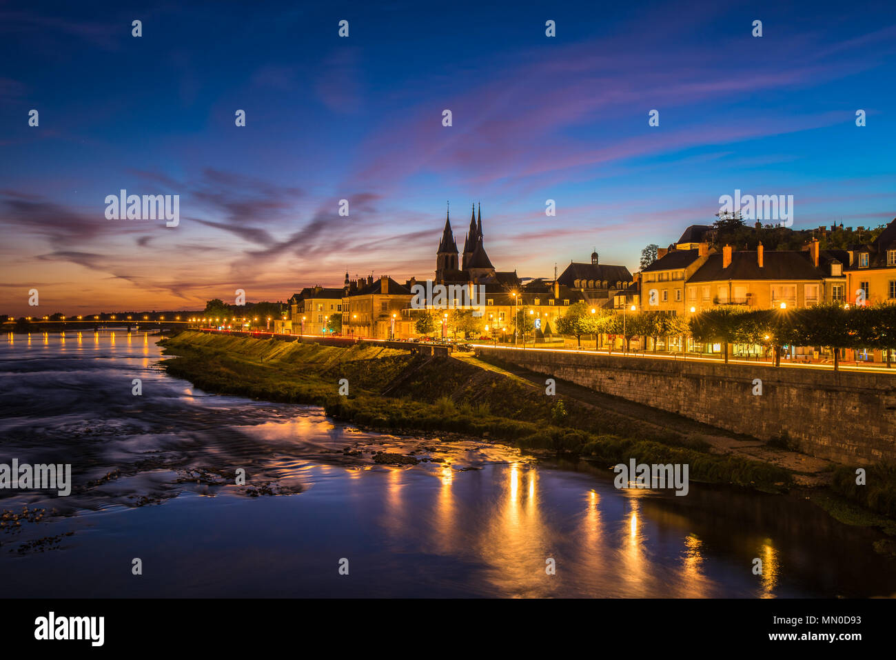 Sunset image of Blois and the Loire River, France - Stock Image