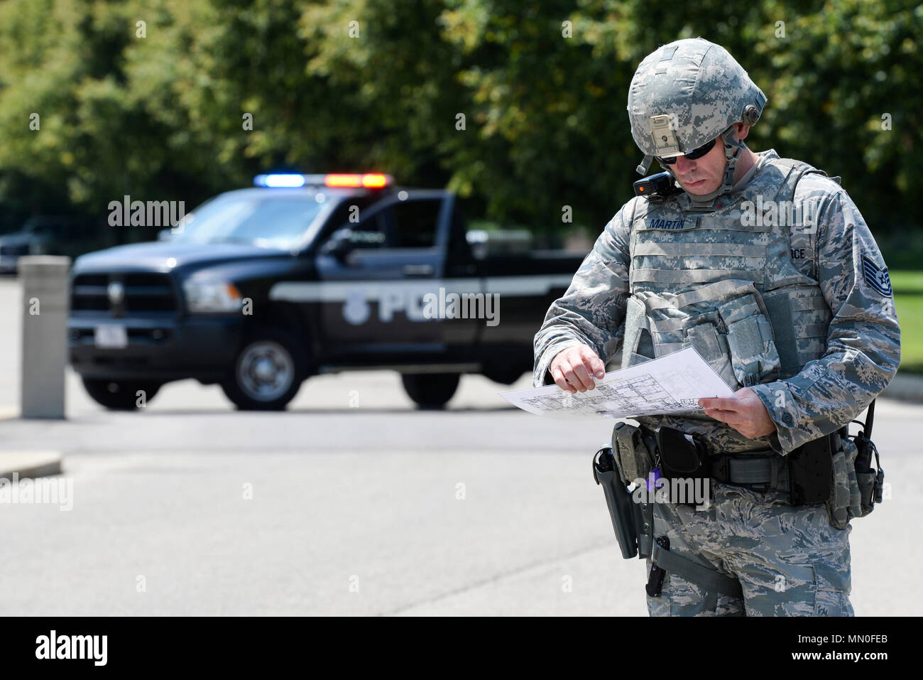 Us air force tech sgt bryant martin 88th security forces flight us air force tech sgt bryant martin 88th security forces flight chief consults a building blueprint as the temporary on scene commander while malvernweather Images