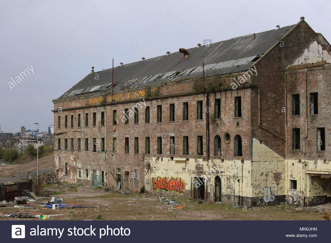 William Halley & Sons' Wallace Craigie Works Dundee Scotland  April 2016 (Demolished May 2018) - Stock Image