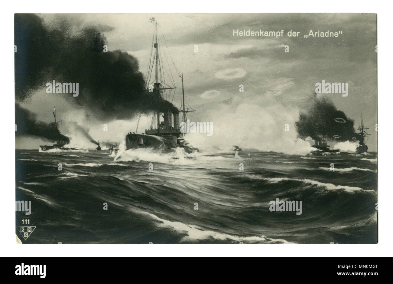 Old German postcard: cruiser SMS Ariadne cuts through the steep waves in stormy sea, accompanied by warships of Imperial Navy,  world war I 1914-1918 - Stock Image
