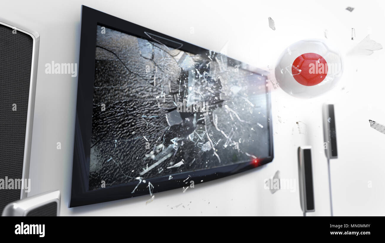 Soccer ball with the flag of Japan flying through a shattering tv screen.(3D rendering series) Stock Photo
