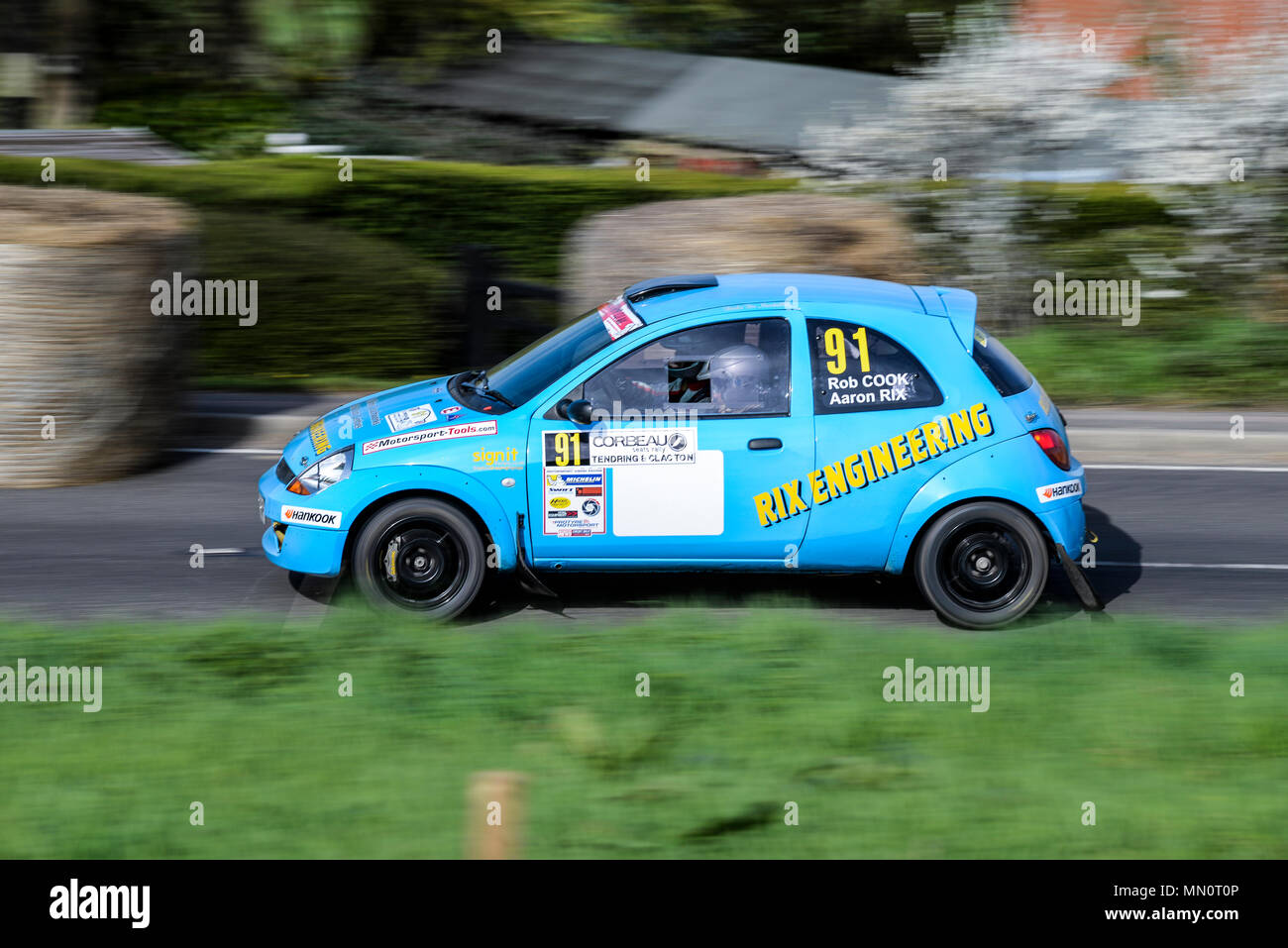 Aaron Rix Driver Rob Cook Co Driver Racing Ford Ka In The Closed Public Road Corbeau Seats Car Rally Tendring And Clacton Es Uk