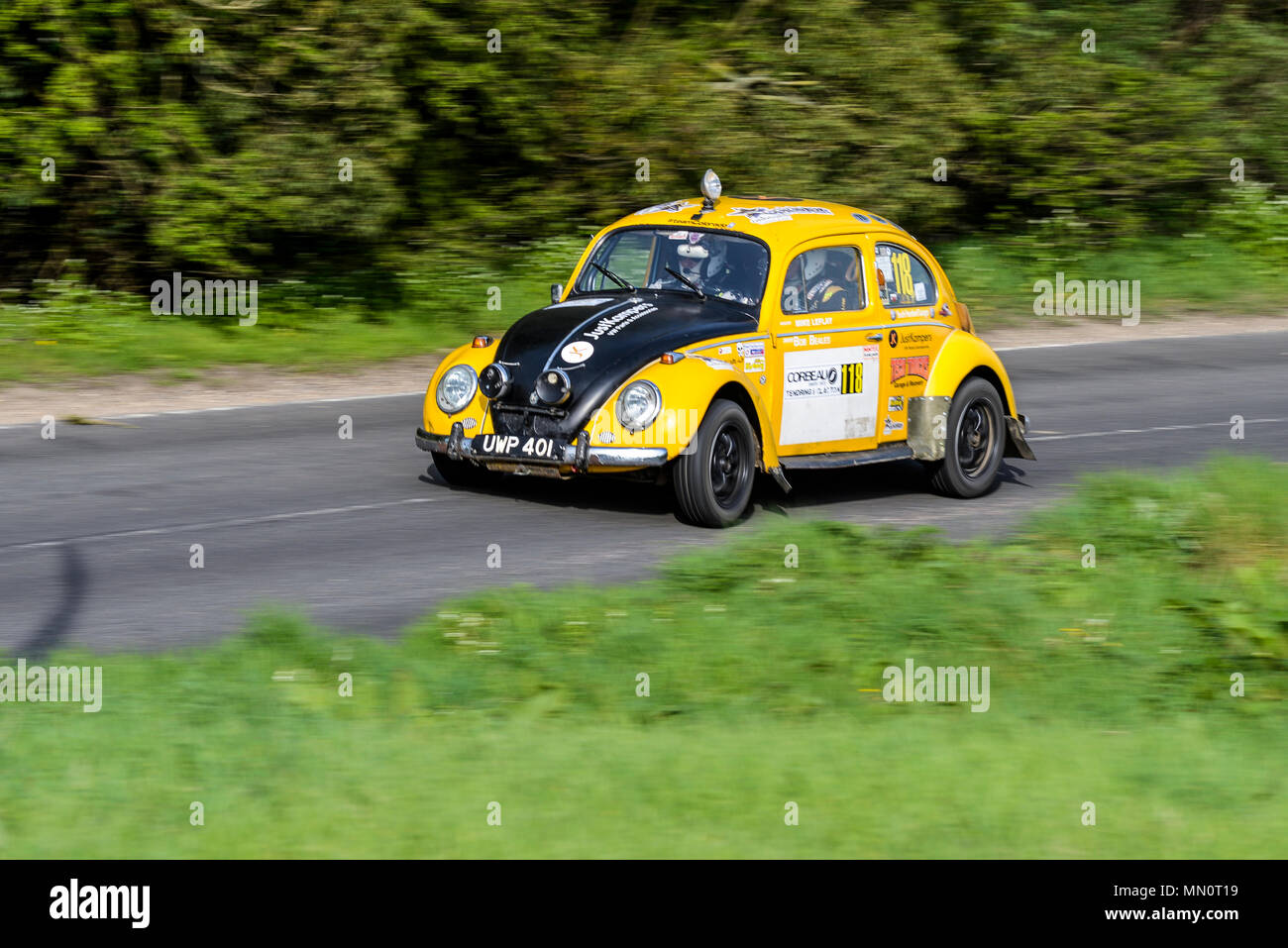 Robert Beales driver Mike Leflay co driver racing VW Beetle in the closed public road Corbeau Seats car Rally Tendring and Clacton, Essex, UK - Stock Image