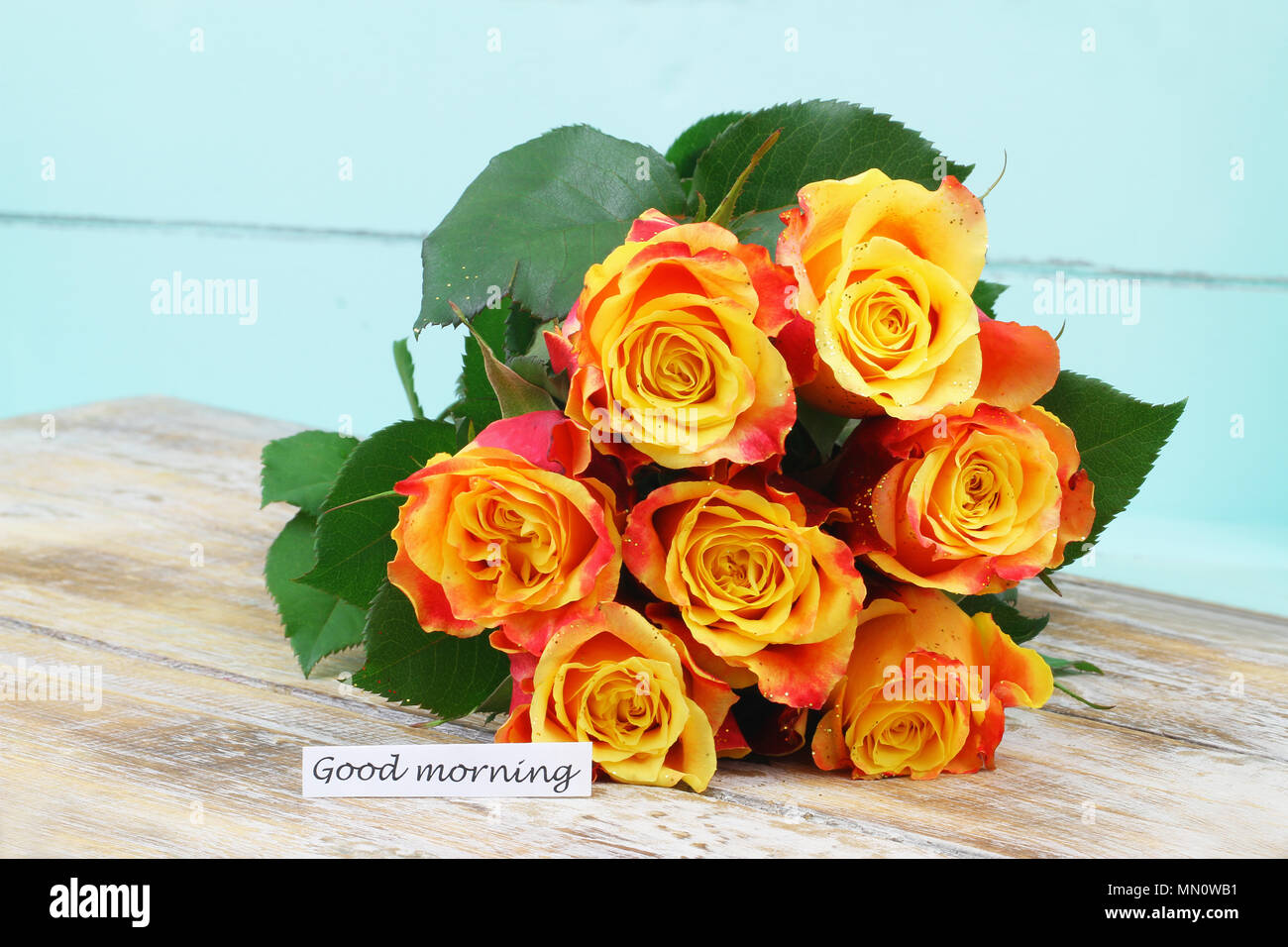 Good Morning Card With Bouquet Of Red And Yellow Roses Sprinkled