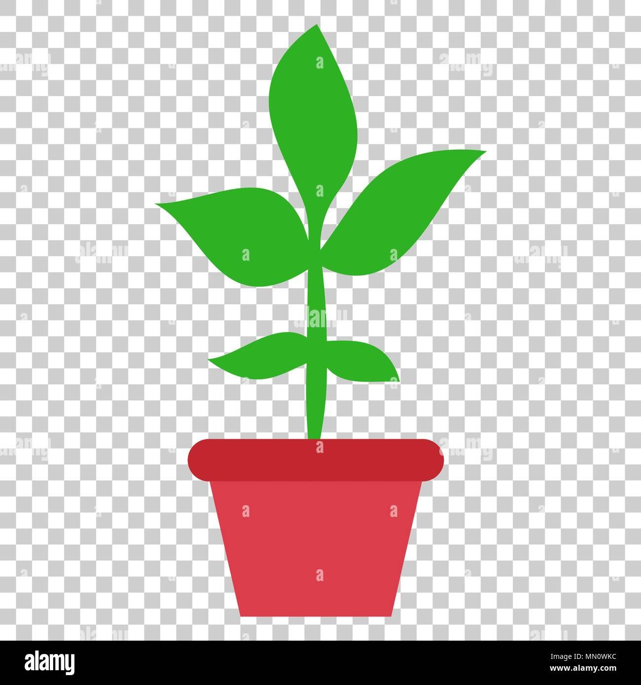 Flower Pot Vector Icon In Flat Style Seedling Flower Illustration