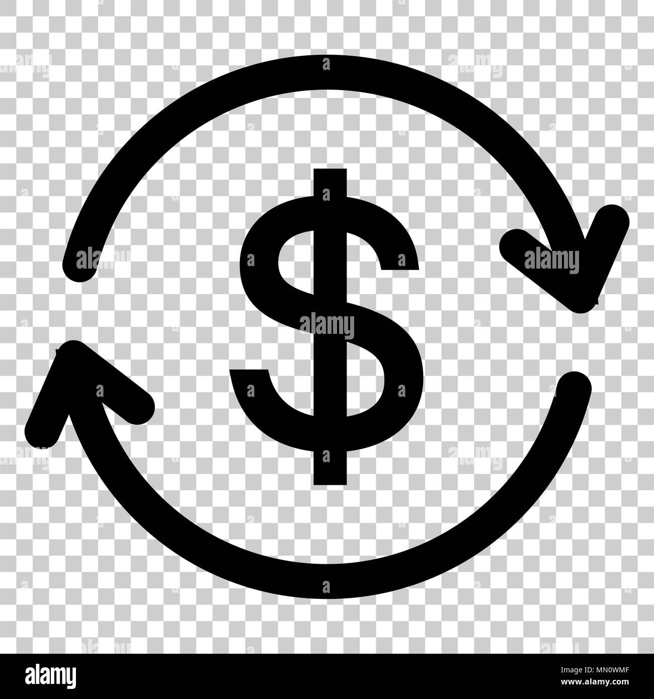 Money Dollar With Arrow Icon In Flat Style Exchange Rate Money