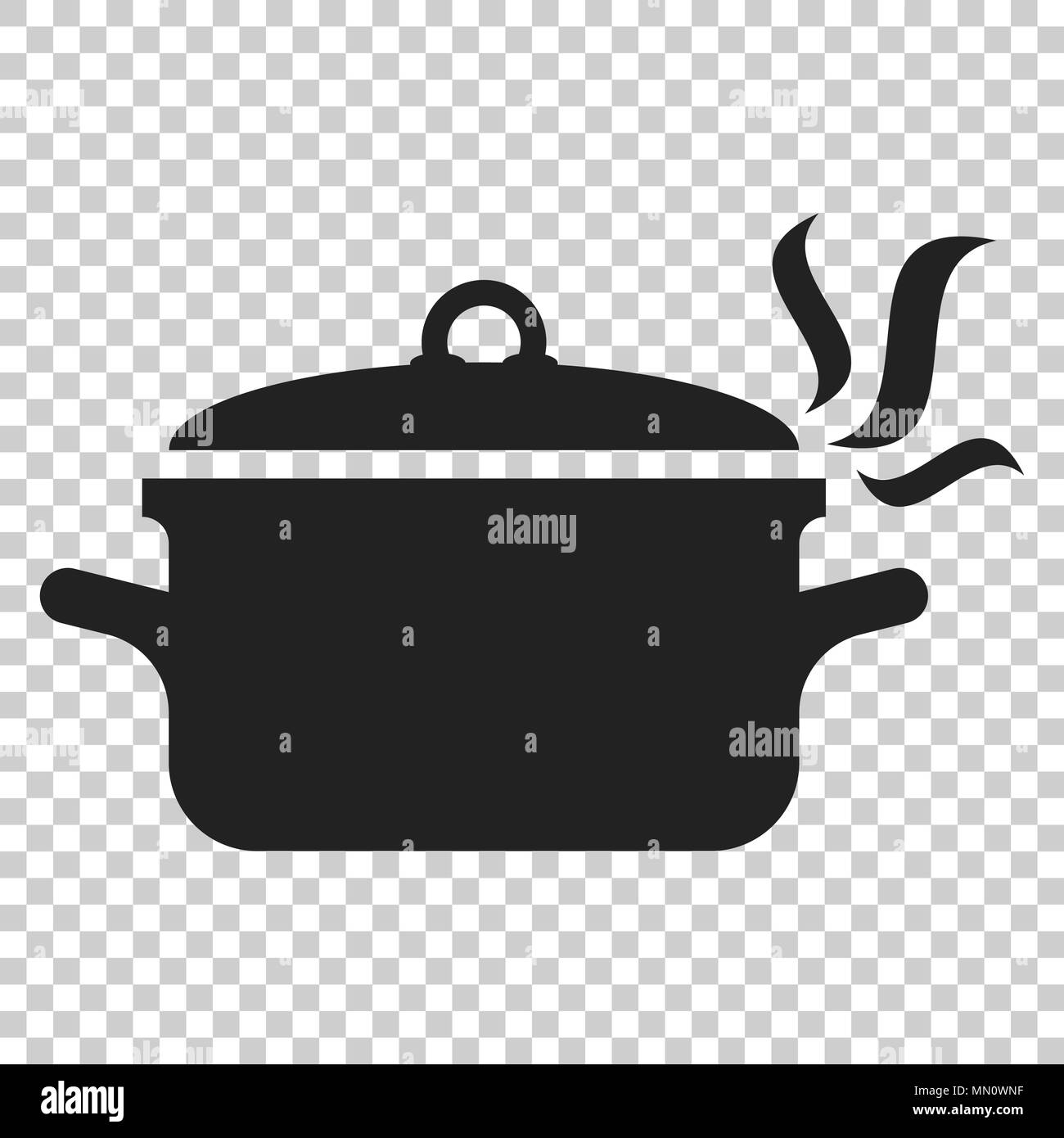 8794cfc2c5 Cooking pan icon in flat style. Kitchen pot illustration on isolated  transparent background. Saucepan equipment business concept.