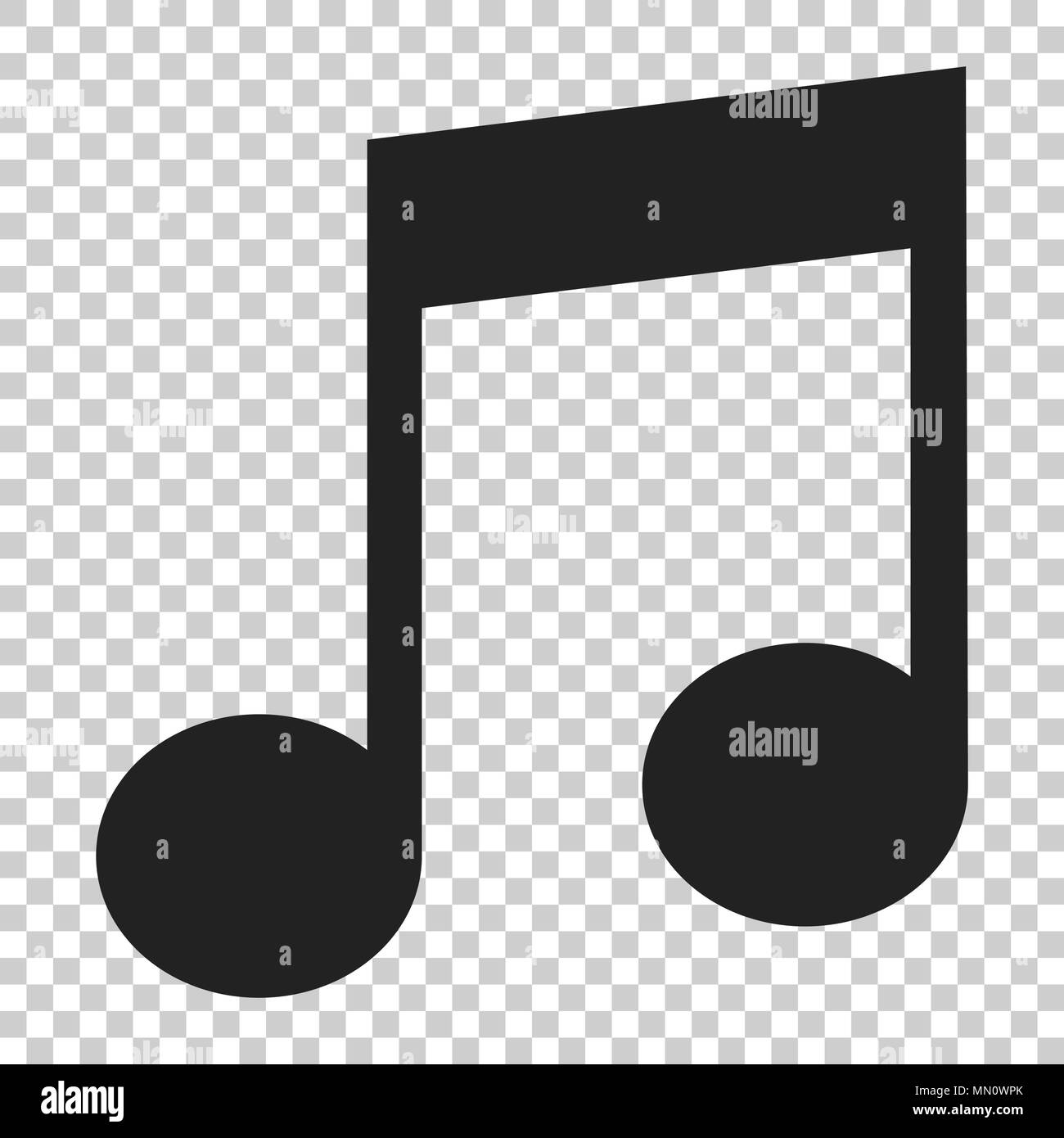 Music note icon in flat style  Sound media illustration on