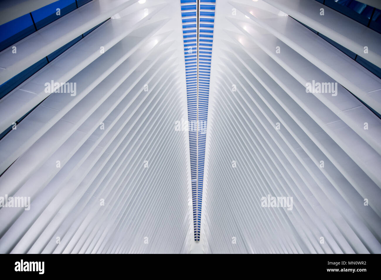 New York, US - March 29, 2018:  The famous Westfield shopping mall at world trade center in New York City Stock Photo