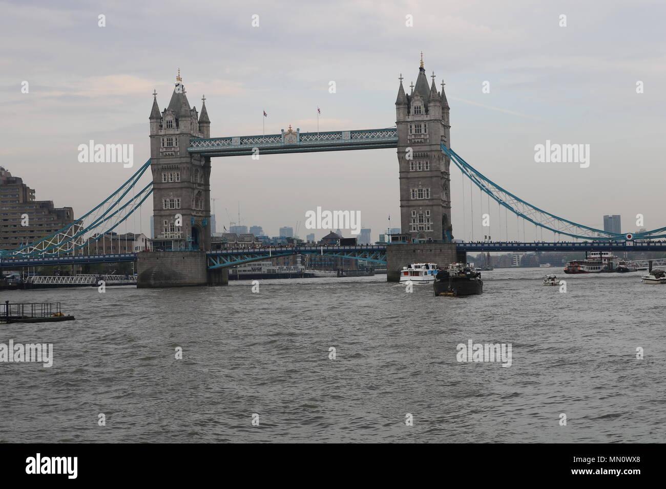 Image of Tower Bridge, an iconic symbol of London, United Kingdom - Stock Image