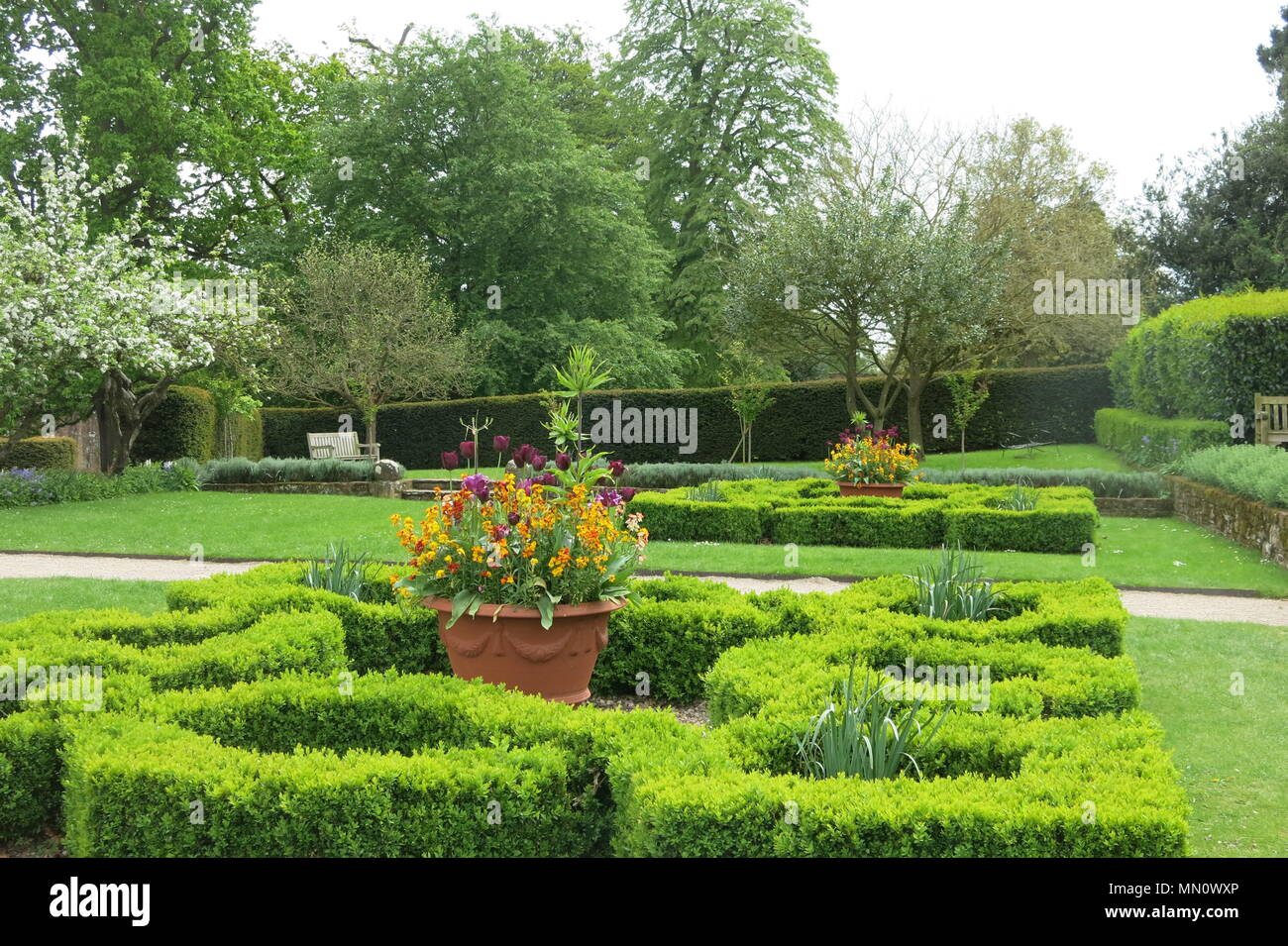 The garden next to Leicester's Gatehouse at Kenilworth Castle; an English Heritage property in Warwickshire. - Stock Image