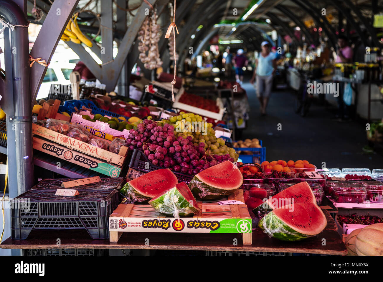 PULA, CROATIA - JUNE 26, 2017. People shopping fruits and vegetables at local marketplace - Stock Image