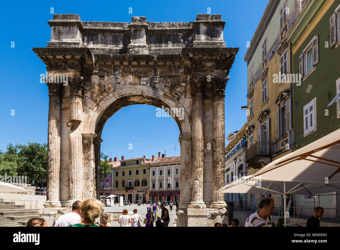 The Triumphal Arch of the Sergi in Pula, Croatia - Stock Image