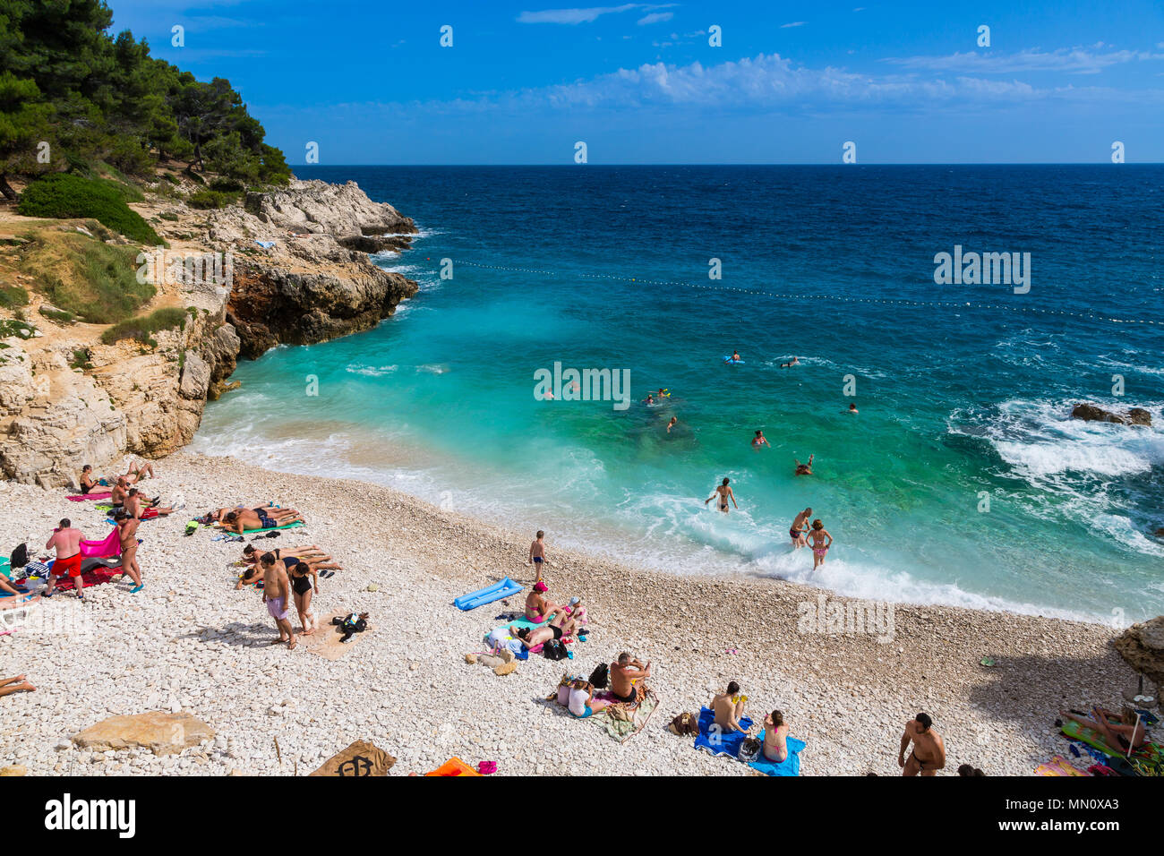 A beach in Pula, Croatia - Stock Image