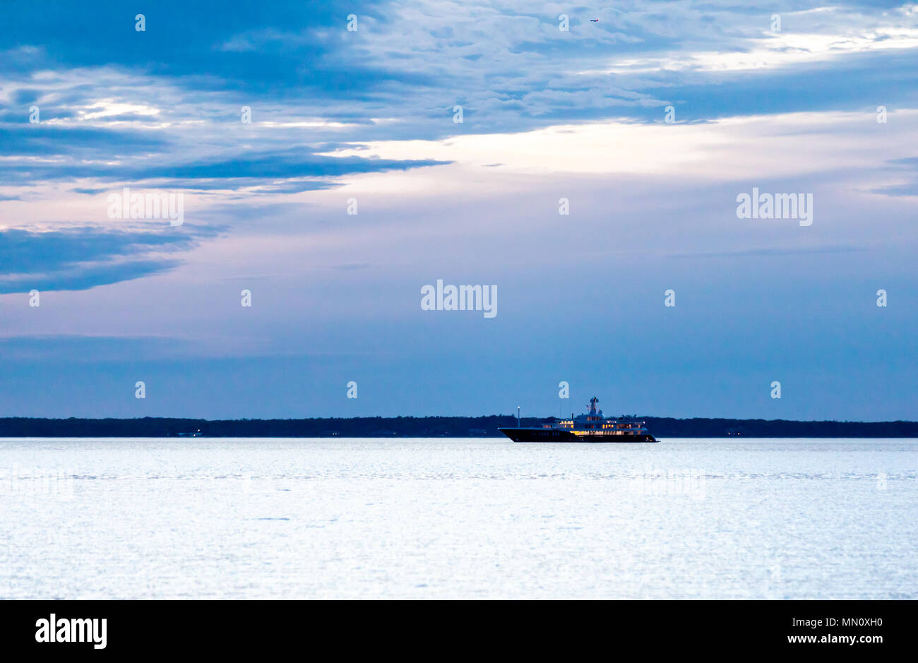 large yacht in Peconic Bay off long beach, sag harbor, ny - Stock Image