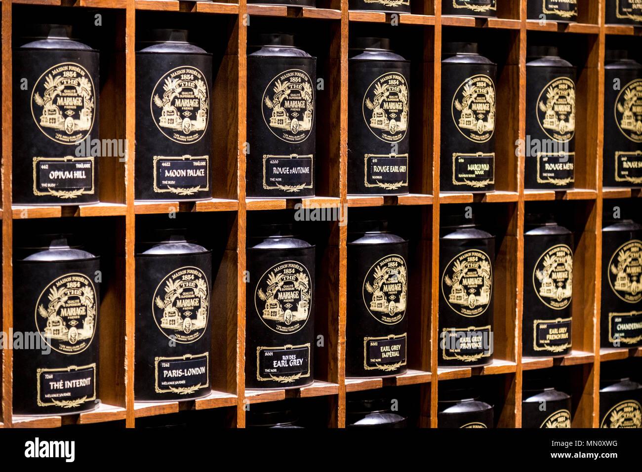 Large tea canisters at French tea Mariage Freres shop inside Selfridges, London, UK - Stock Image