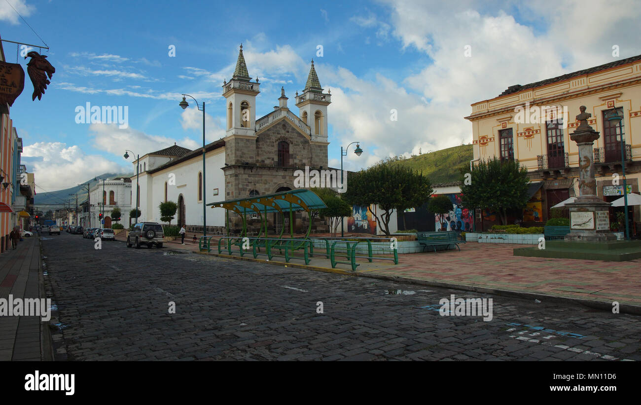 View of the church of San Agustin, located in the Abdon Calderon Park - Stock Image