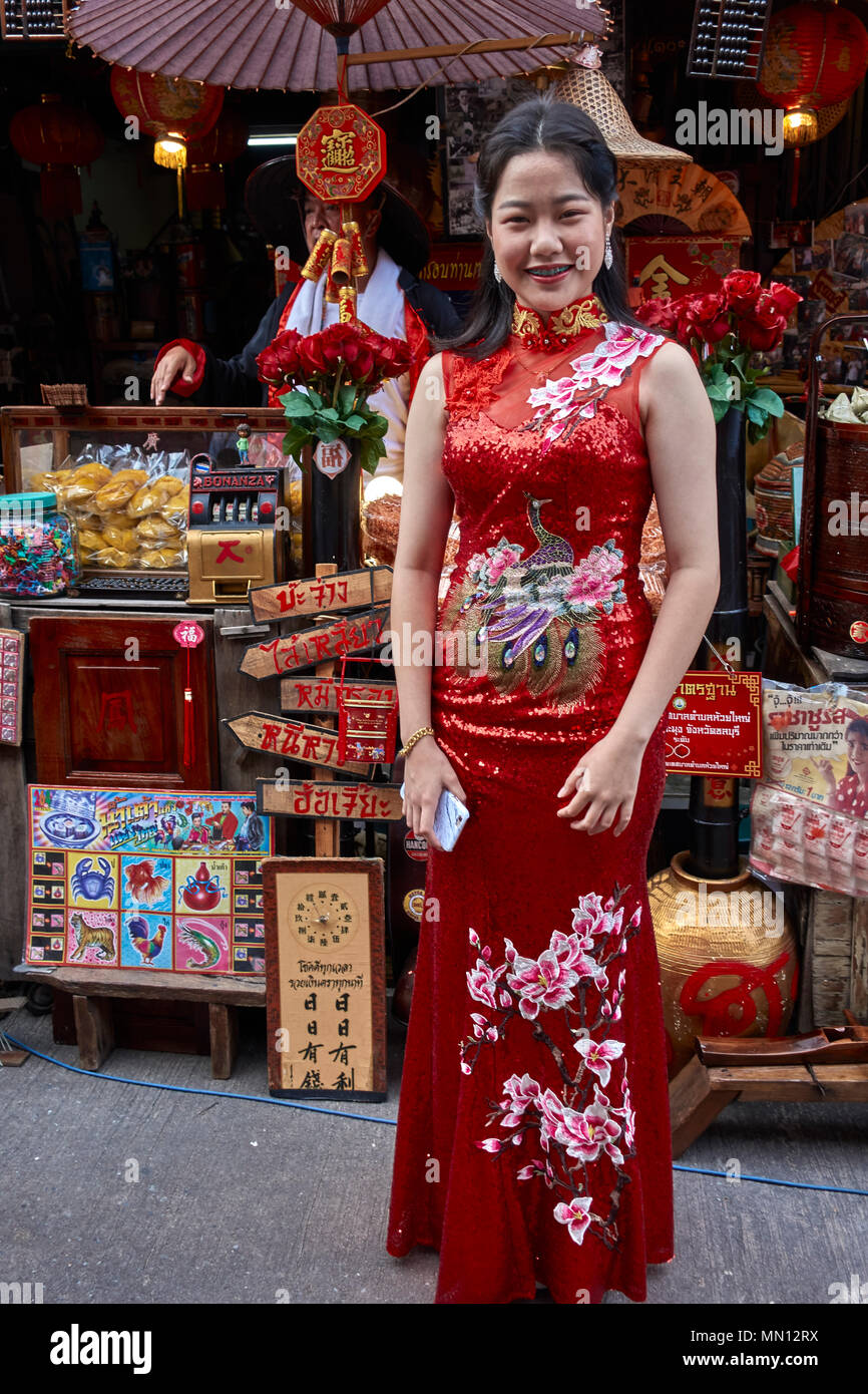 646fb7e13 Stock Photo. Enlarge. China town, Thailand, girl in traditional red Chinese  dress.
