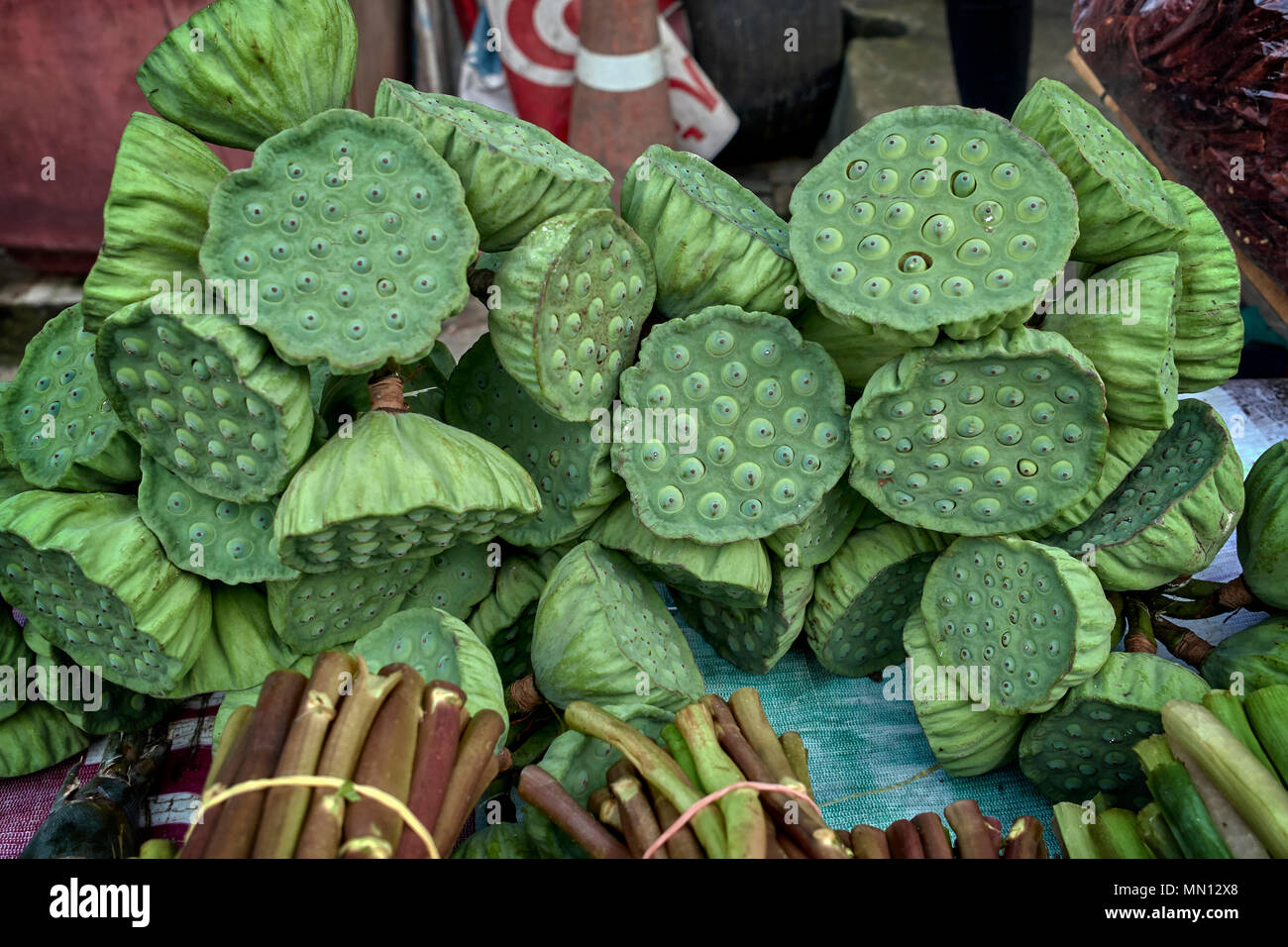 Lotus Pods For Sale As Edible Food On A Thailand Street Market Stall