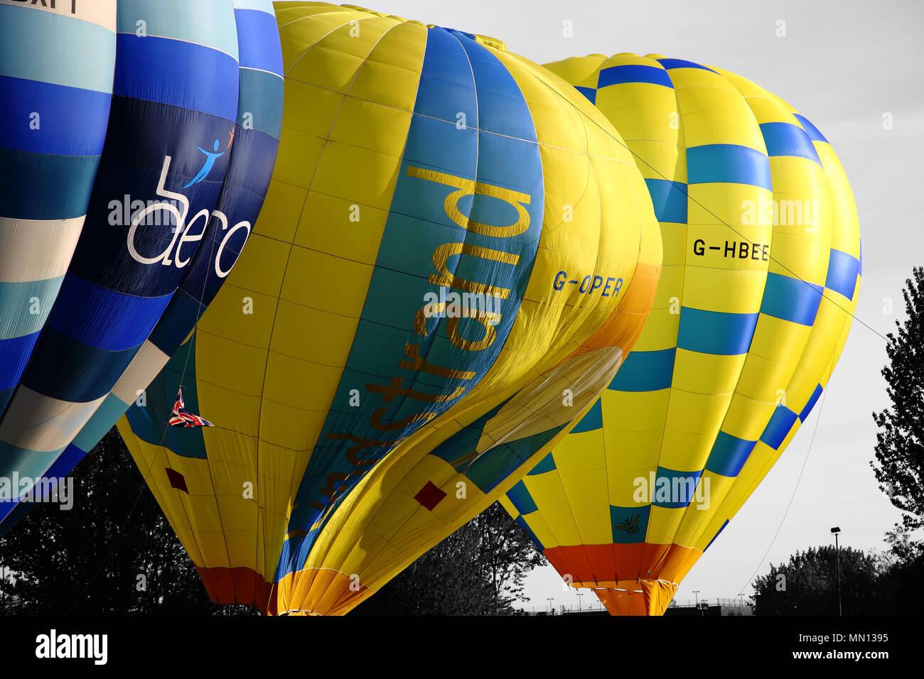 Lindstrand balloon preparing to take off. Telford Balloon and Kite Festival, Telford Town Centre, Telford, Shropshire.  United Kingdom.  12th May 2018 Stock Photo