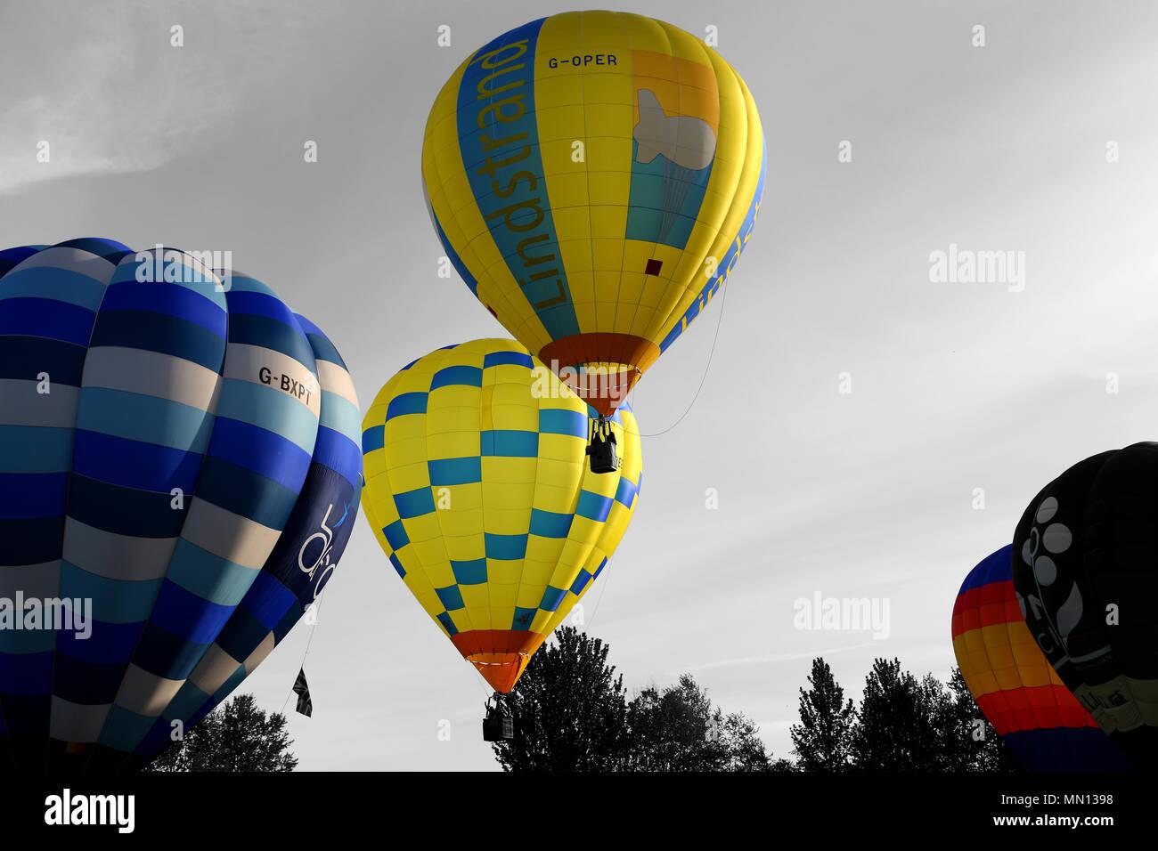 Lindstrand balloon taking off at Telford Balloon and Kite Festival, Telford Town Centre, Telford, Shropshire.  United Kingdom.  12th May 2018 Stock Photo