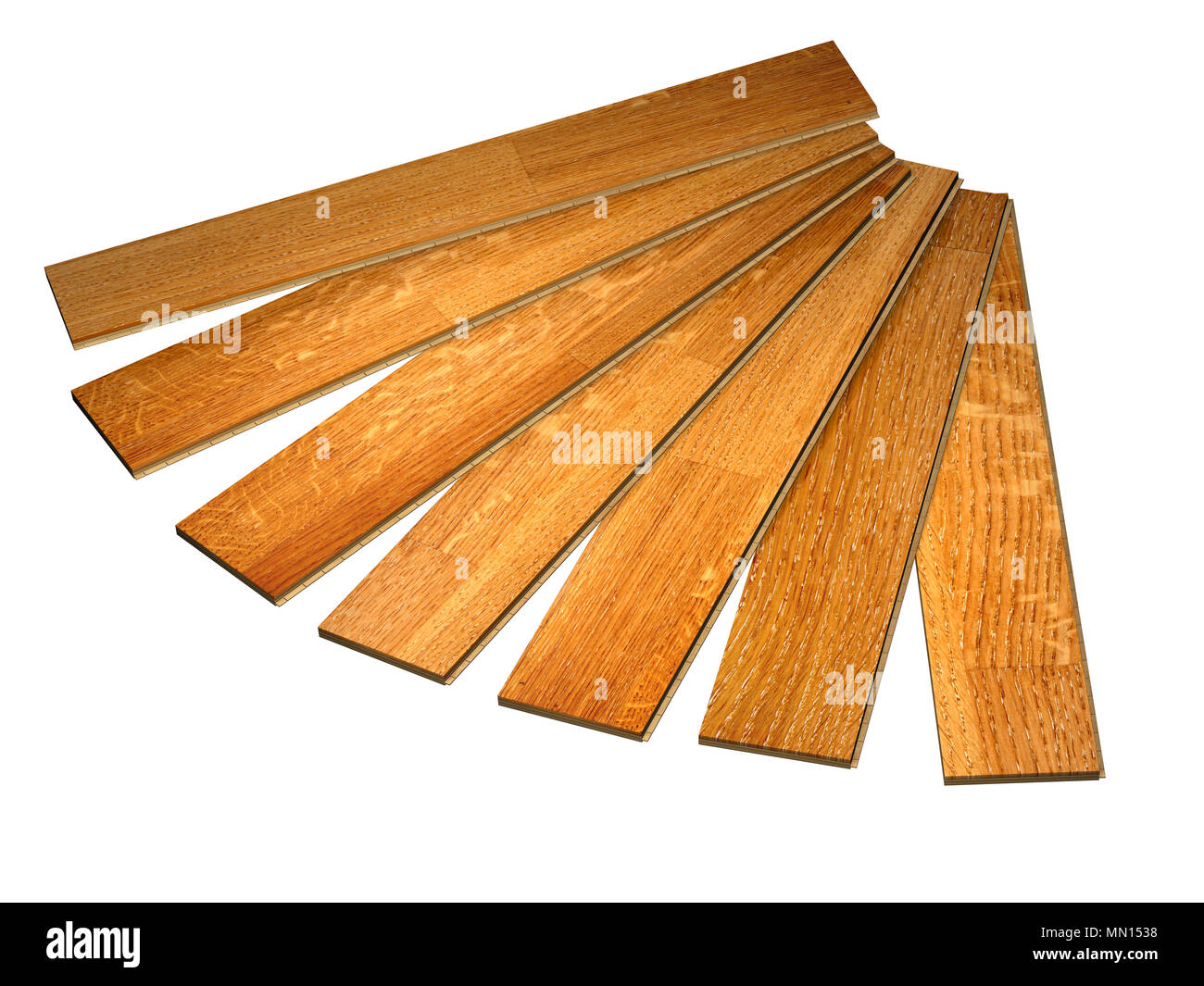 New planks of oak parquet with rustic texture. Isolated on white background. 3d render - Stock Image
