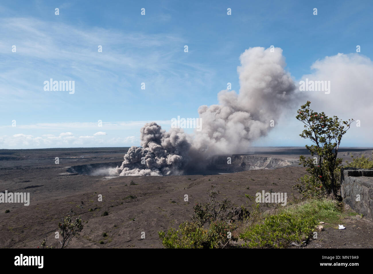 Hawaii, USA 12th May 2018. A grey ash plume rises from the Kilauea volcano May 11, 2018 in Hawaii. The recent eruption continues destroying homes, forcing evacuations and spewing lava and poison gas on the Big Island of Hawaii. Credit: Planetpix/Alamy Live News Stock Photo
