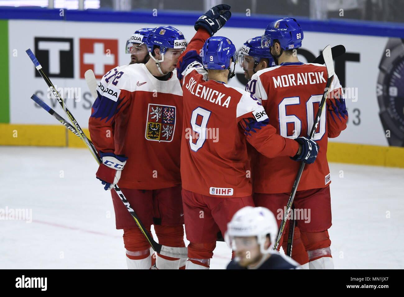Kodan, Denmark. 13th May, 2018. L-R ROMAN HORAK, FILIP CHYTIL, DAVID SKLENICKA and TOMAS PLEKANEC (all CZE) celebrate 5th goal during the Ice Hockey World Championships match France vs Czech Republic, in Copenhagen, Denmark, May 13, 2018. Credit: Ondrej Deml/CTK Photo/Alamy Live News Stock Photo