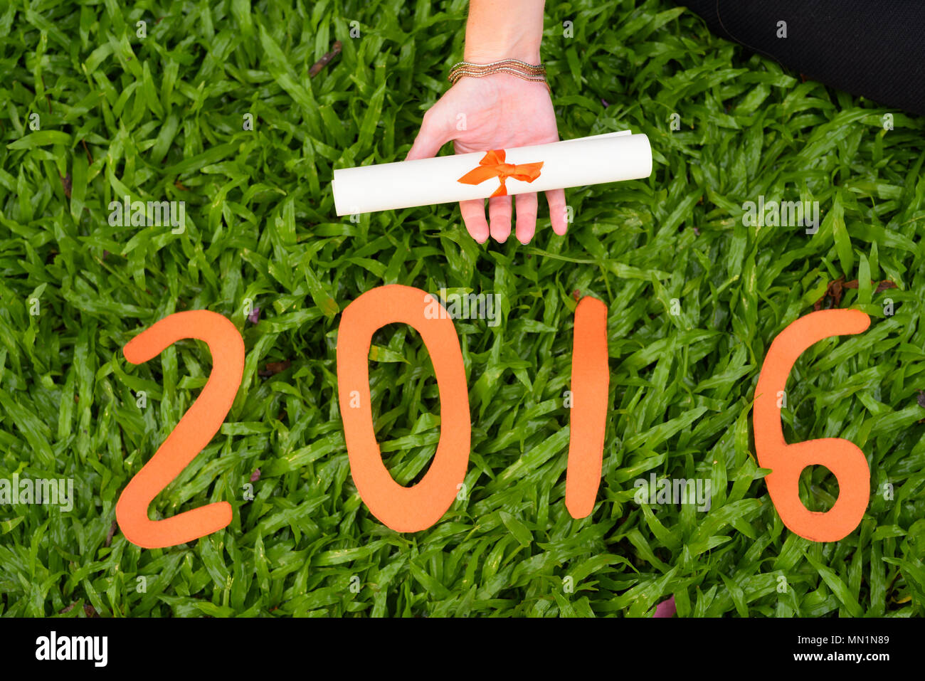 Young Woman's Hand Holding Diploma With 2016 Sign - Stock Image