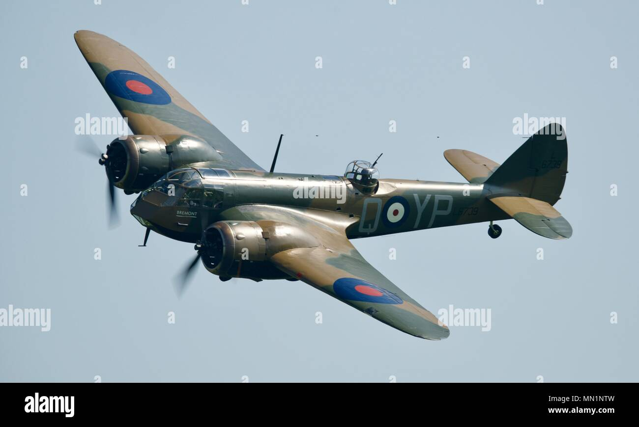 Bristol Blenheim Mk.I (G-BPIV) flying at Shuttleworth, Old Warden Stock Photo