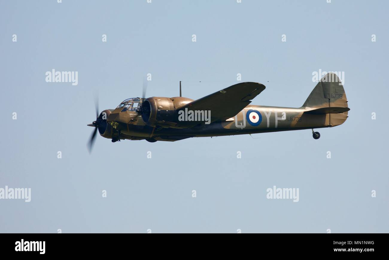 Bristol Blenheim Mk.I (G-BPIV) flying at Shuttleworth, Old Warden Stock Photo