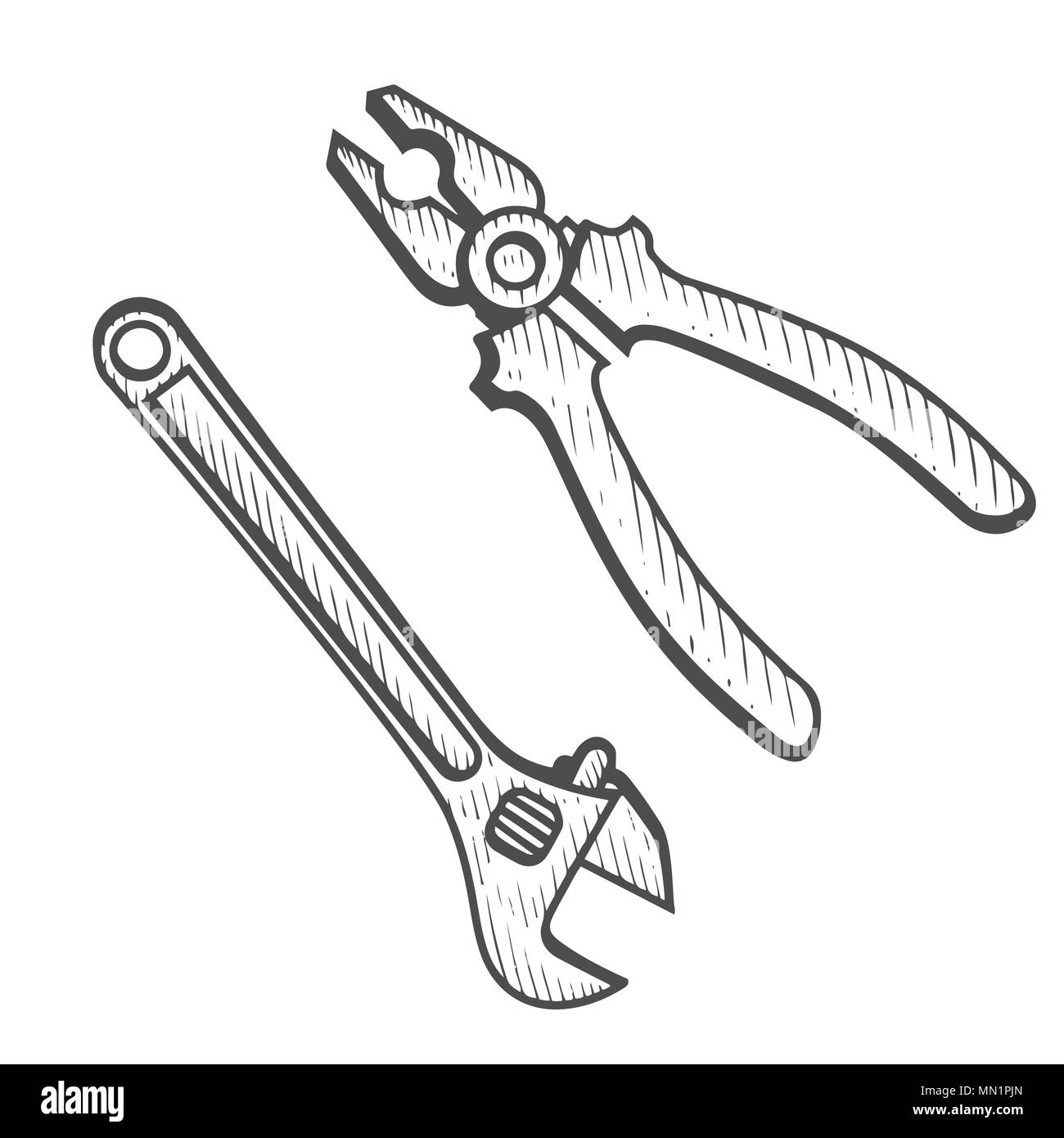 hand drawn set of tools pliers and adjustable wrench vector