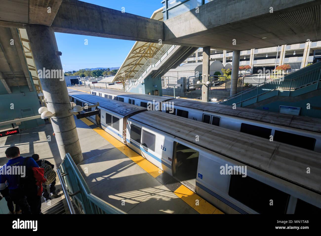 San Francisco, AUG 24: The Bay Area Rapid Transit on AUG 24, 2014 at San Francisco - Stock Image